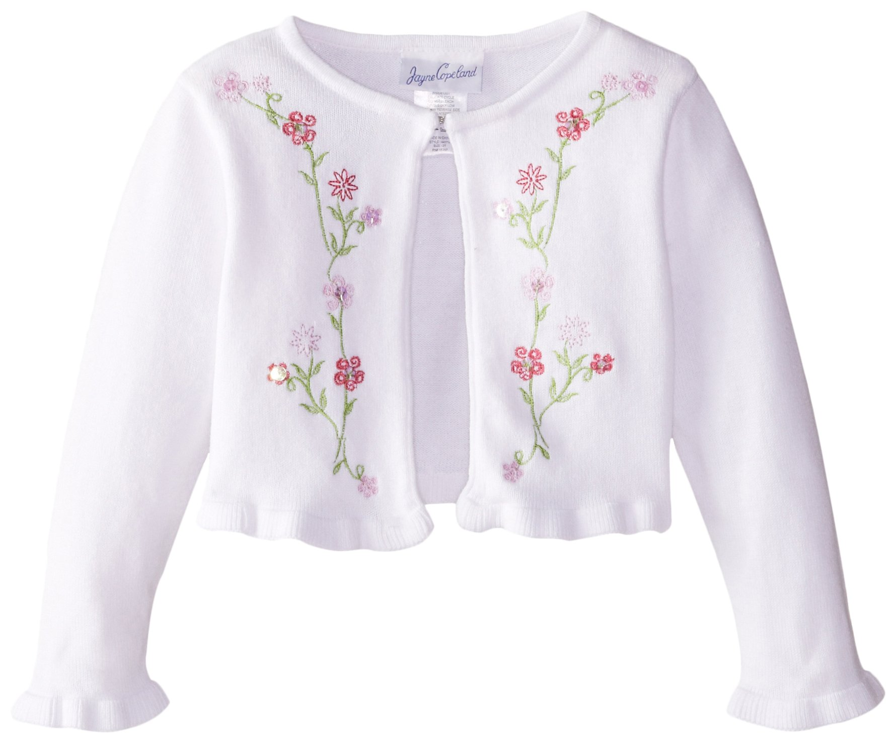 Jayne Copeland Little Girls' Sweater with Floral Embroidery, White, 2T
