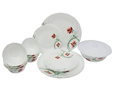 Larah Alice 18 Pcs Opalware Dinner Set (White)