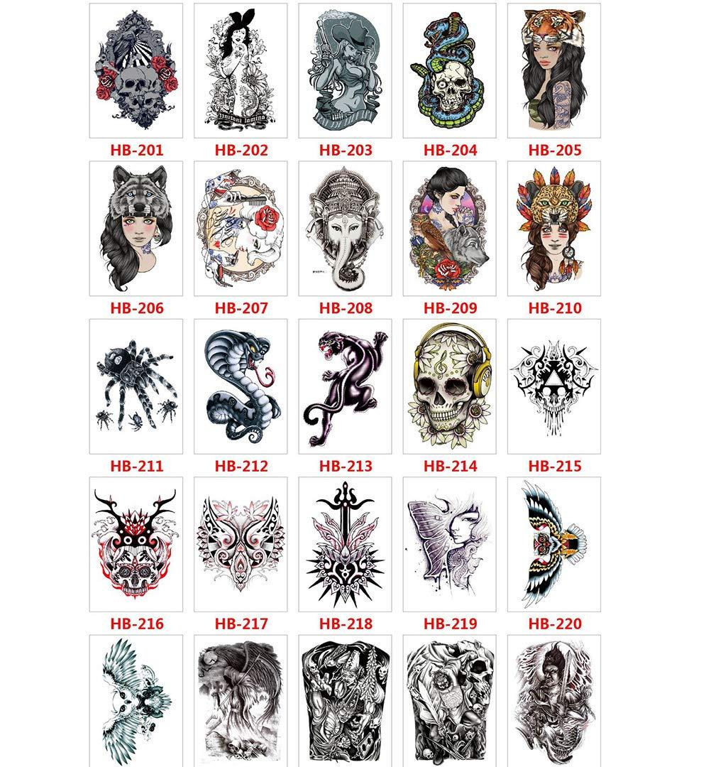 50 kinds patterns Temporary Tattoo Sticker for Women Men Fake Tatoo Body Art Adult Waterproof Stickers butterflies, elves, snakes, hawks, deer, owls-1
