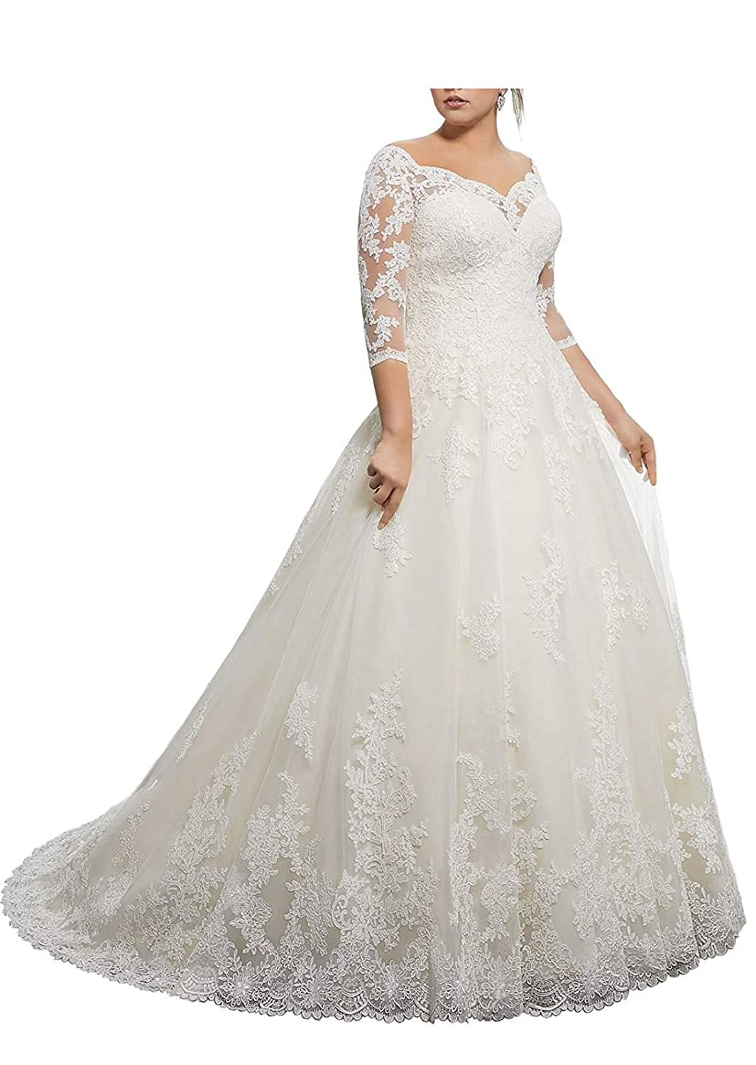 Womens Lace Wedding Dresses for Bride with 3//4 Sleeves Plus Size Bridal Gown Jerald Norton Ltd