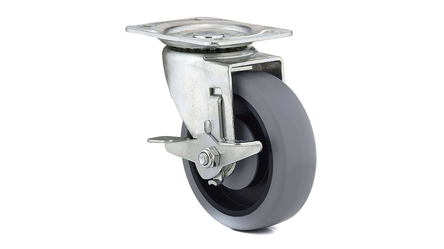 Richelieu Hardware F25622 Industrial Gray Thermoplastic Rubber Caster Swivel with Brake Gray Finish