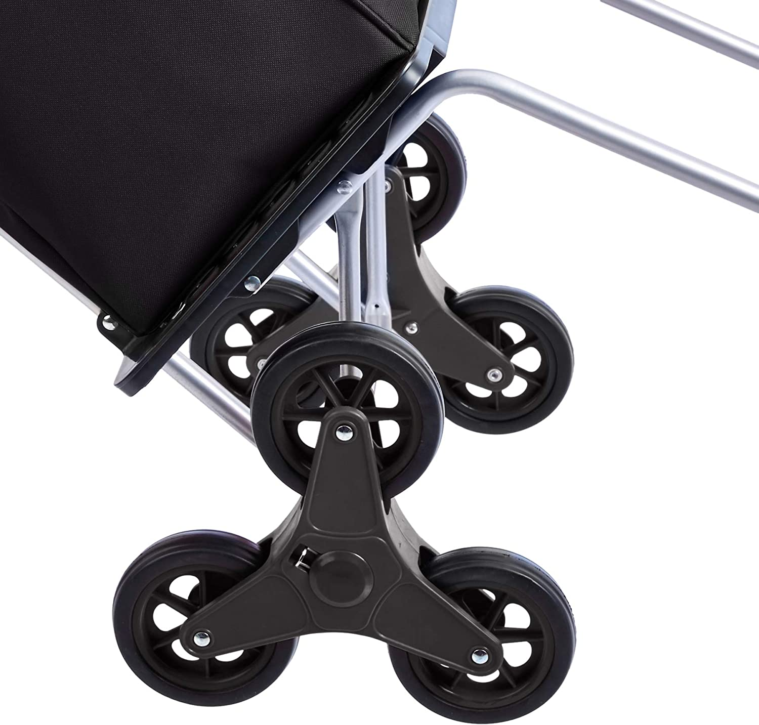 Black Basics Folding Stair Climber Shopping Cart Converts into Dolly 38 inch Handle Height