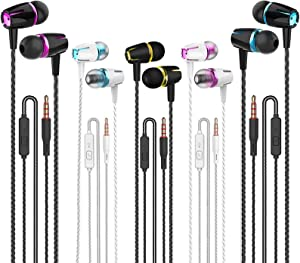 Earbuds Wired with Microphone Pack of 5, Noise Isolating in-Ear Headphones, Powerful Heavy Bass, High Definition, Earphones Compatible with iPhone, iPod, iPad, MP3, Samsung, and All 3.5mm jack