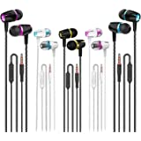 Earbuds Wired with Microphone Pack of 5, Noise Isolating in-Ear Headphones, Powerful Heavy Bass, High Definition, Earphones C