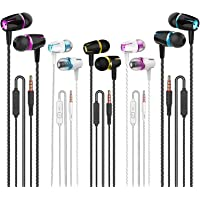 Earbuds Wired with Microphone Pack of 5, Noise Isolating in-Ear Headphones, Powerful Heavy Bass, High Definition…