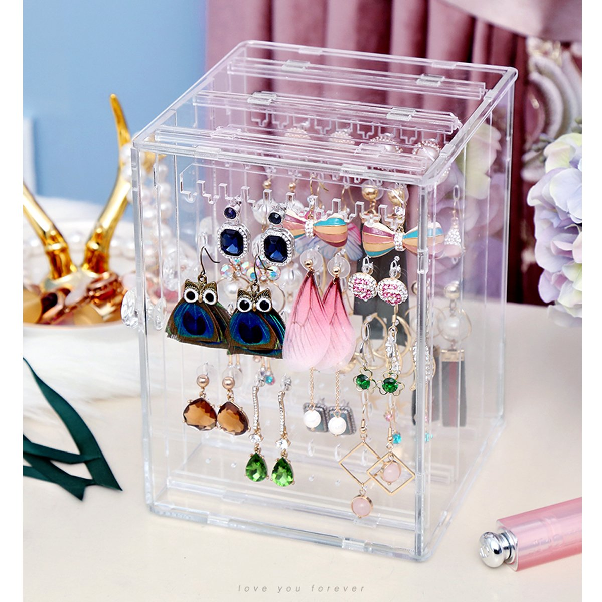 Transparent Orgrimmar Acrylic Jewelry Storage Box Earring Display Stand Organizer Holder with 3 Vertical Drawer