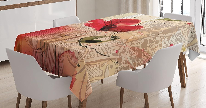 Ambesonne Flower Tablecloth, Red Poppy Flower Paint Brush Effect Beige Floral Design Digital Art Print, Dining Room Kitchen Rectangular Table Cover, 52