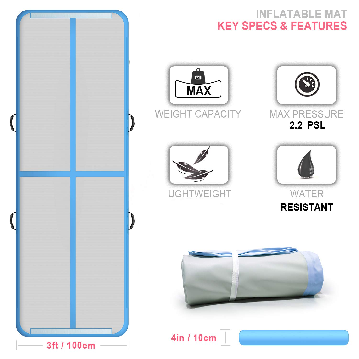 Cotogo 6.6ft//10ft//13ft//16ft//20ft//23ft//26ft//30ft//33ft//40ft//50ft Air Track Tumbling Mat Gymnastics Inflatable Airtracks Mat with Electric Air Pump for Home Use//Tumble//Gym//Training//Cheerleading