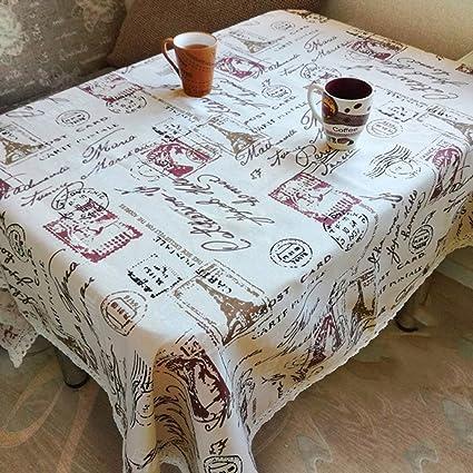 XHHWZB Impresión de la Torre Mantel Decorativo Mantel de algodón Mantel de Encaje Cubierta de Mesa