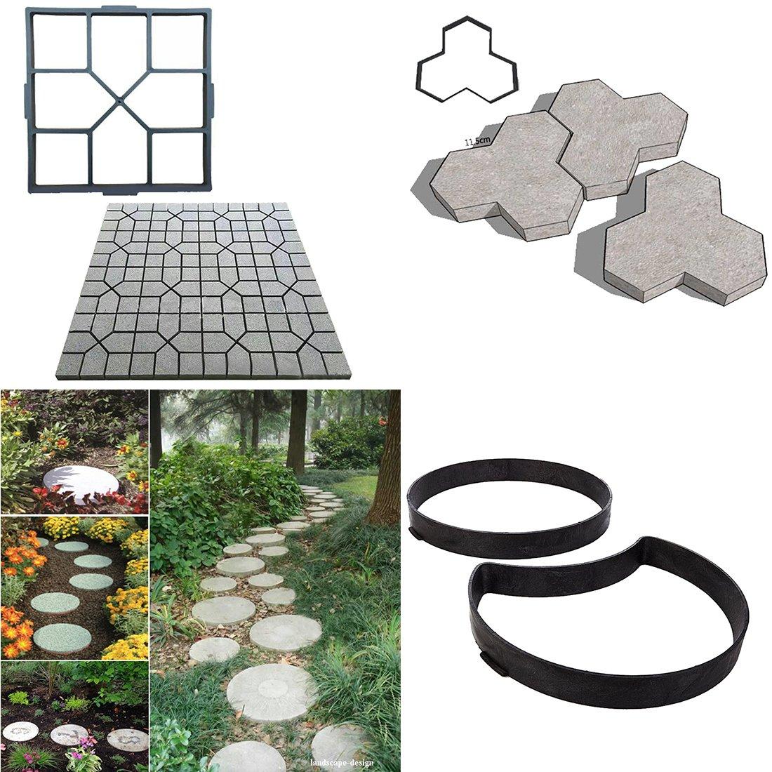 BESTOMZ DIY Molde para Cemento, Molde para Hormigón, Molde para Hacer Pavimentos/Caminos/Suelos de Jardín, Patio, Balcón, Terraza, de Plástico Resistente: ...