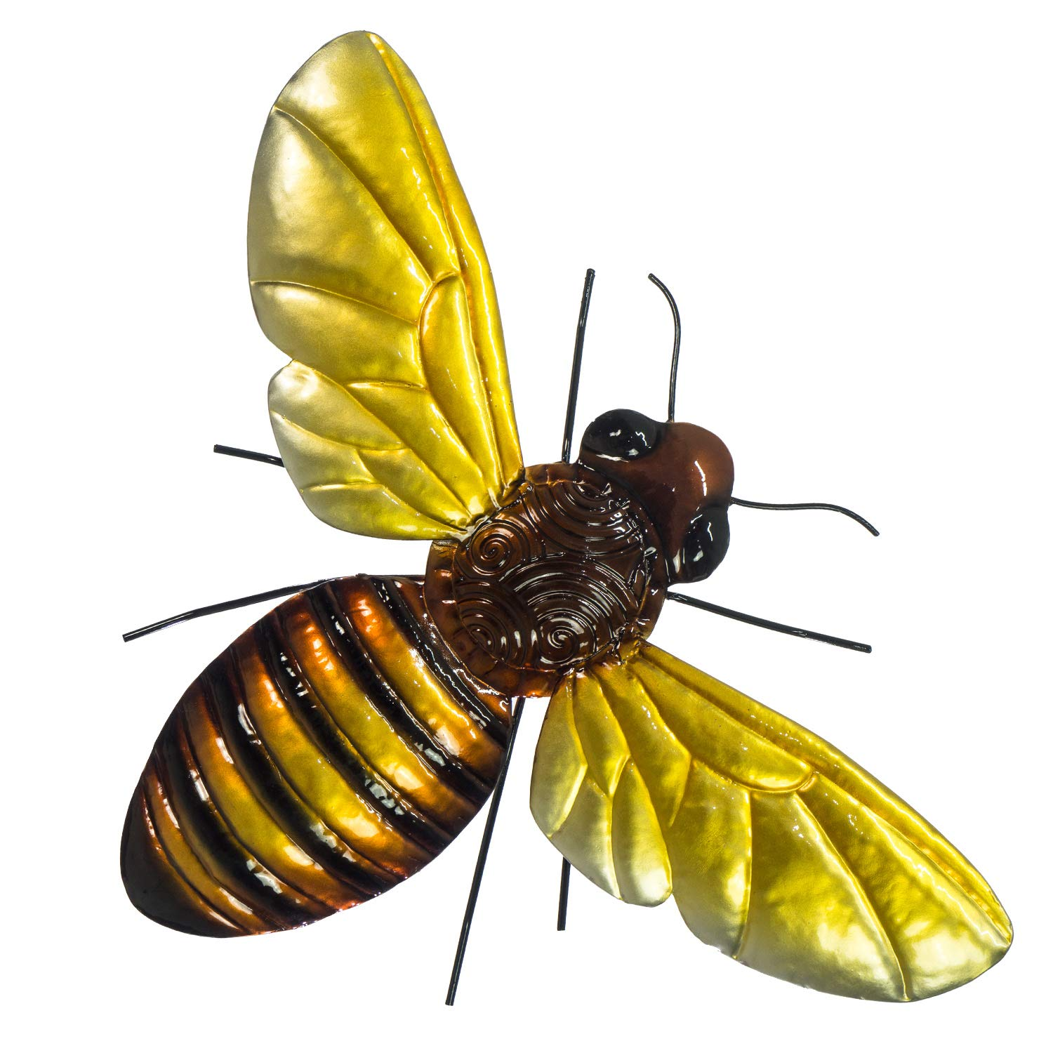 """Bumble Bee - Metal 3D Hand-Painted Wall Decor - 17 ½"""" x 13"""" - Colorful Home Decoration - Indoor or Outdoor Use - Wall Hanging in Classic Bee Colors"""