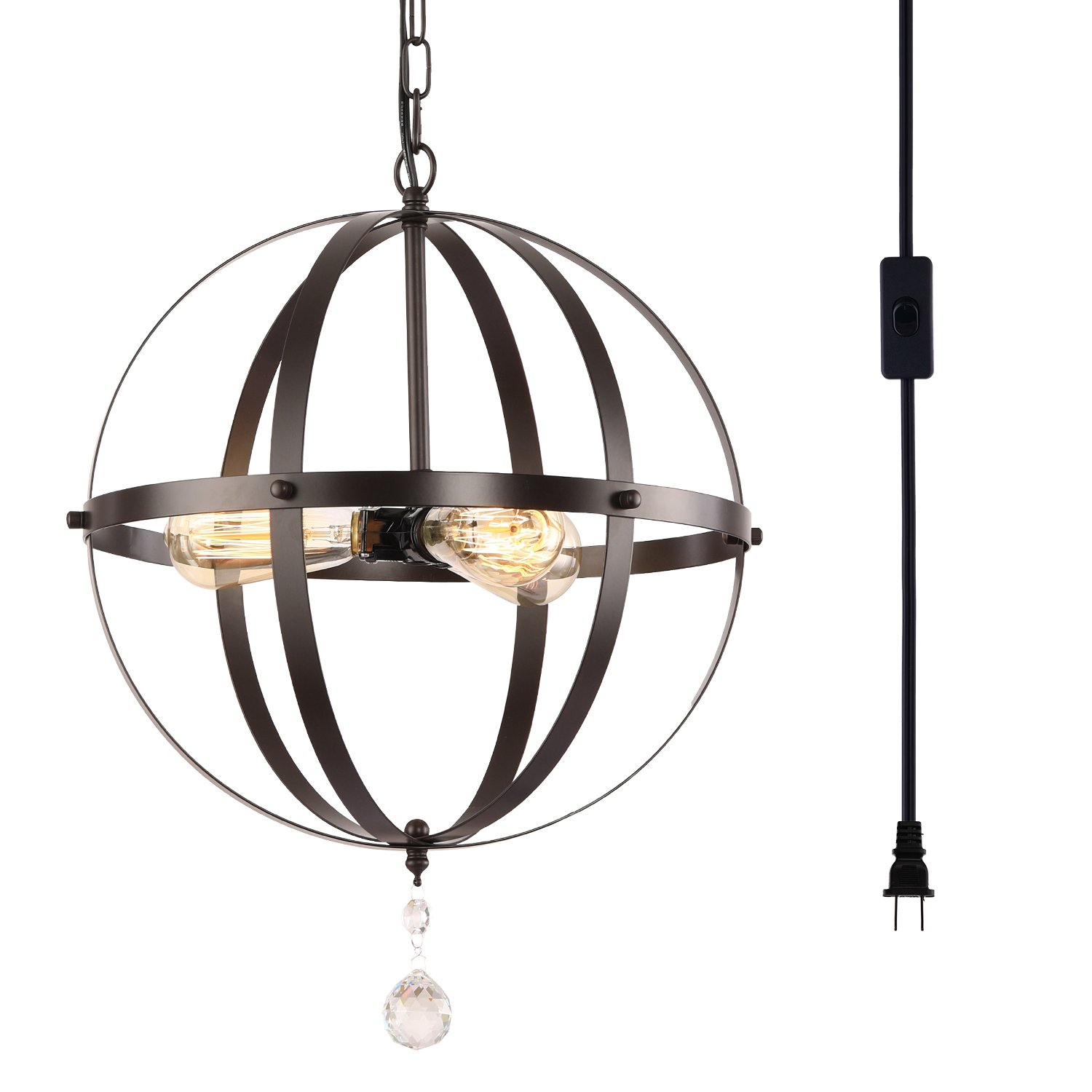HMVPL Plug-in Industrial 3 Light Globe Pendant with 16.4 Ft Hanging Cord and Toggle Switch, Oil Rubbed Bronze Finish, Vintage Metal Chandelier Ceiling Light Fixture