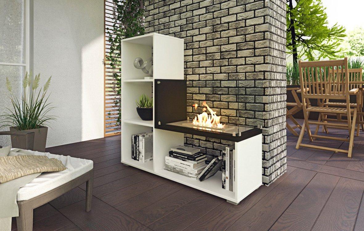 SelectionHome - Estanteria con chimenea, comedor o salon, Blanco satinado y Negro, Tetris