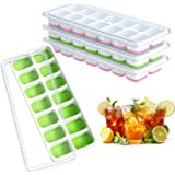 Ouddy 4 Pack Ice Cube Trays, Easy-Release Silicone Flexible Ice Trays, 14 Ice Cubes, Stackable Ice Cube Molds with Removable Lid, Durable - Pink & Green