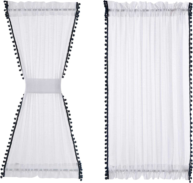 Treatmentex Sheer White French Door Panels 72inches Long Black Pom Poms Sheer Front Door Window Curtain 52