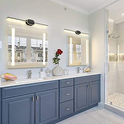 Temgin LED Bathroom Vanity Lighting Fixture 20W 24 Inch 6000K Warm White Modern Up and Down Lamps Fixture Indoor for Bedroom Hallway Living Room Not Dimmable Black