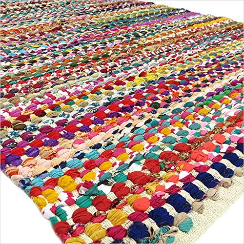 Eyes of India - 8 X 10 ft Colorful Woven Chindi Area Rag Rug Braided Multicolor White Floor Mat Bohemian Accent Handmade Handwoven