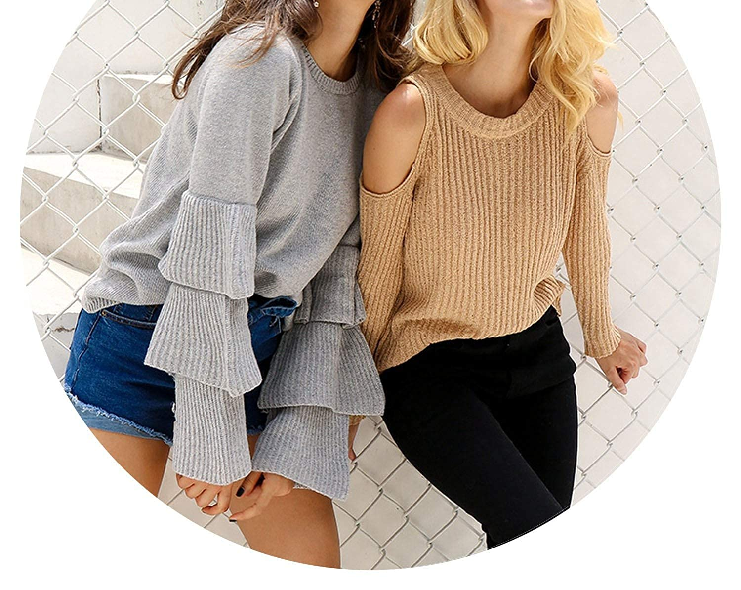 Houfeoans Knitting Ruffles Sweater Women Loose Flare Sleeve Pullover Female Casual Party Knit Pull Jumper