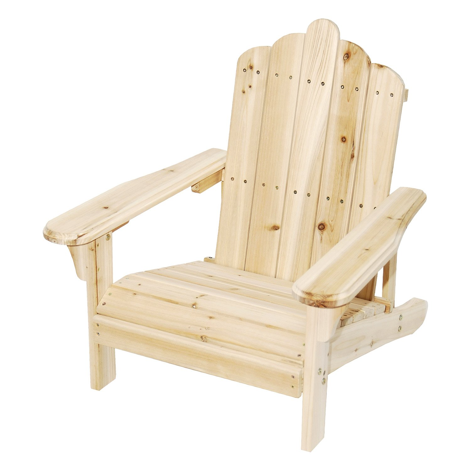 Astonica Unfinished Junior Solid Fir Wood Adirondack Chair For Exterior Home Design and Outdoor Seating - 50108144