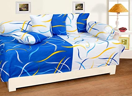 ZAINHOME Cotton Diwan(Blue-White) - Set of 8
