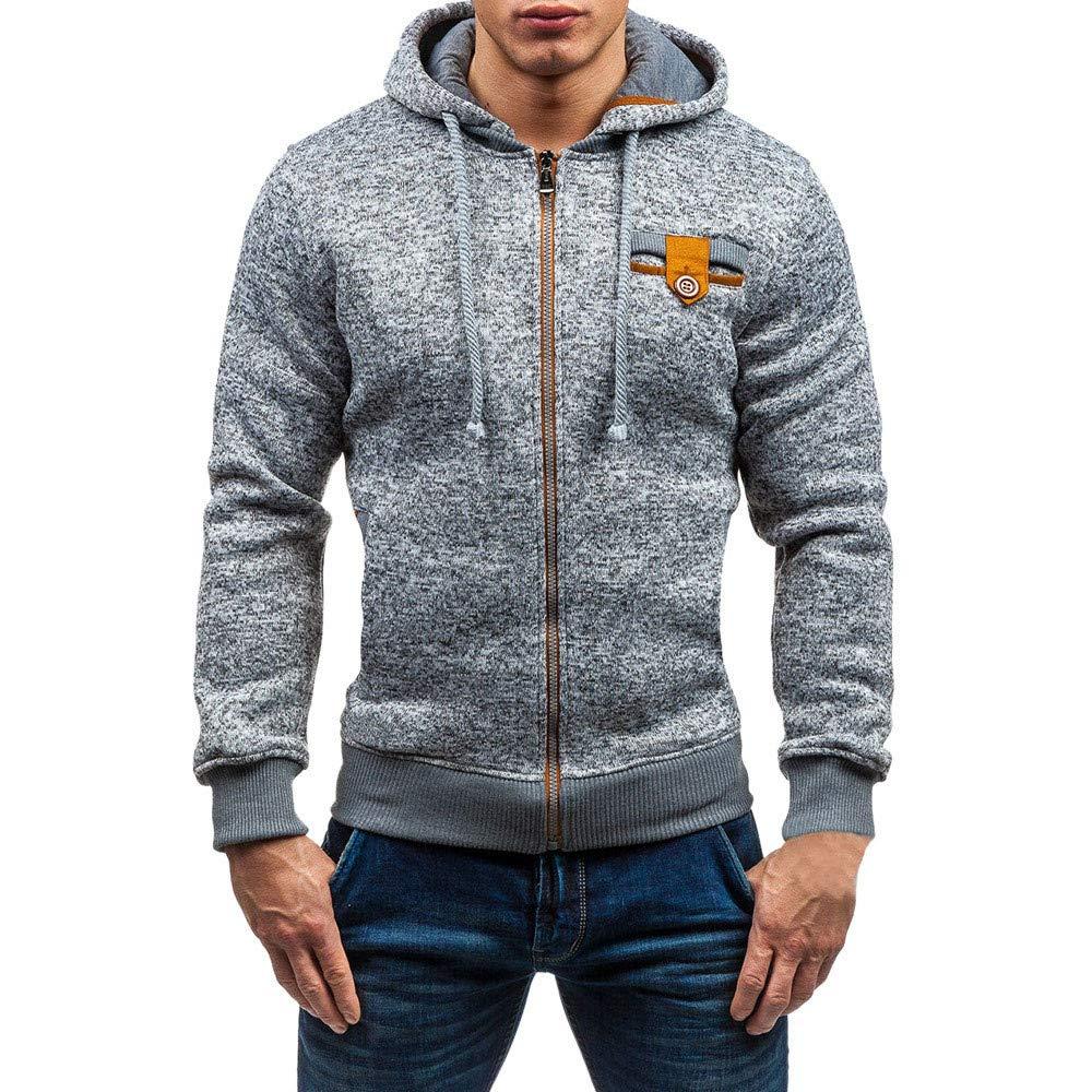 PASATO Mens Autumn Winter New Casual Zipper Long Sleeve Pullover Sweatshirt Hoodie Coat Top clothes Pure Color Polo(Dark,2XL)