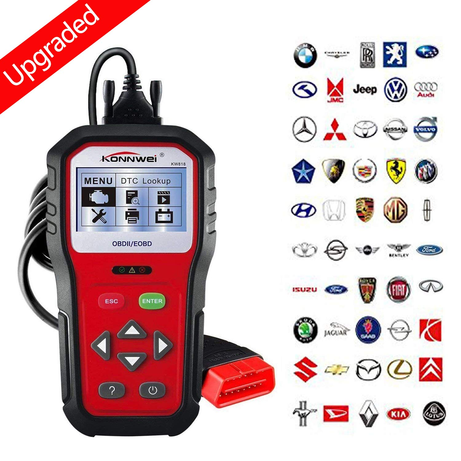 KONNWEI OBD2 Scanner Professional Car OBD II Scanner Auto Diagnostic Fault Code Reader Automotive Check Engine Light Diagnostic O2 Sensor EOBD Scan Tool for All OBDII Protocol Cars Since 1996 (KW818)