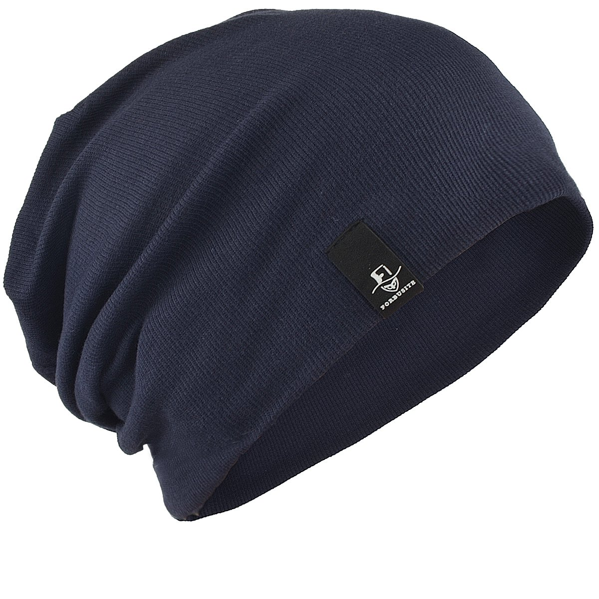 FORBUSITE Mens Cotton Summer Slouchy Beanie Cap Oversized B082-4 (Navy Blue)