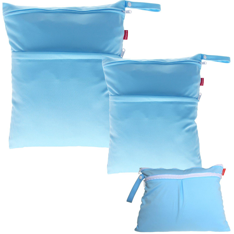 Damero 3pcs Pack Wet Dry Bag for Cloth Diapers Nappy Bag Daycare Organiser Bag, Cats Damai