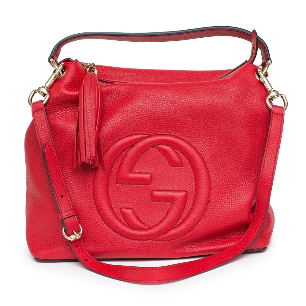 Gucci Soho Flame Red Leather Bag Soft Hobo Italy Handbag New by Gucci (Image #4)