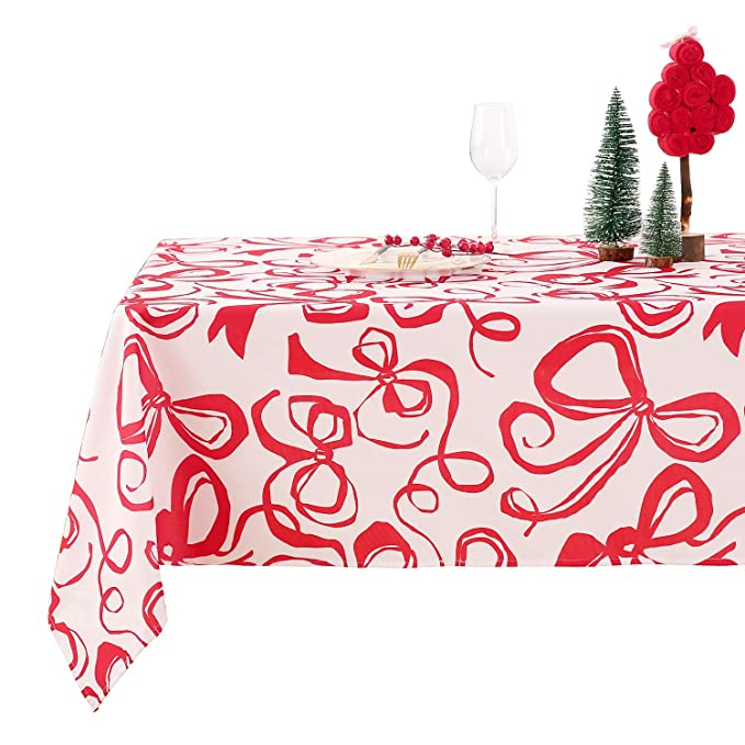 Deconovo Mantel Mesa Rectangular Mantel de Navidad Decoración Dibujo Lazo 140 x 300 cm Rojo: Amazon.es: Juguetes y juegos