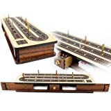 "House of Cribbage - Continuous Cribbage Board / Box inlaid Rosewood 3 Tracks on Maple Board 12"" : Sliding Lid : Drawer"