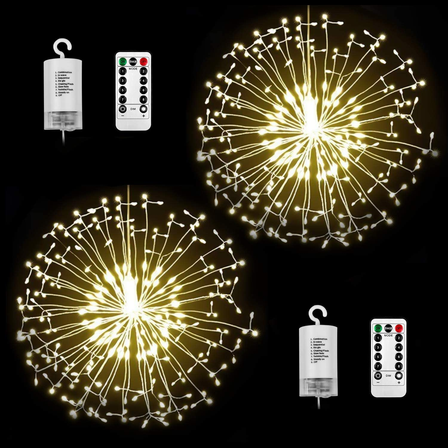 StillCool Firework Lights 2 Pack 150 LED Copper Wire Starburst Lights 8 Modes Battery Operated Fairy Lights with Remote,Waterproof Outdoor Hanging Lights for Decor Patio Garden Party Christmas