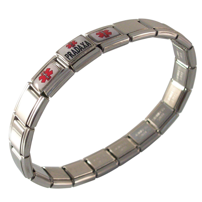 Gadow Jewelry Pradaxa Medical ID Alert Italian Charm Bracelet Resin