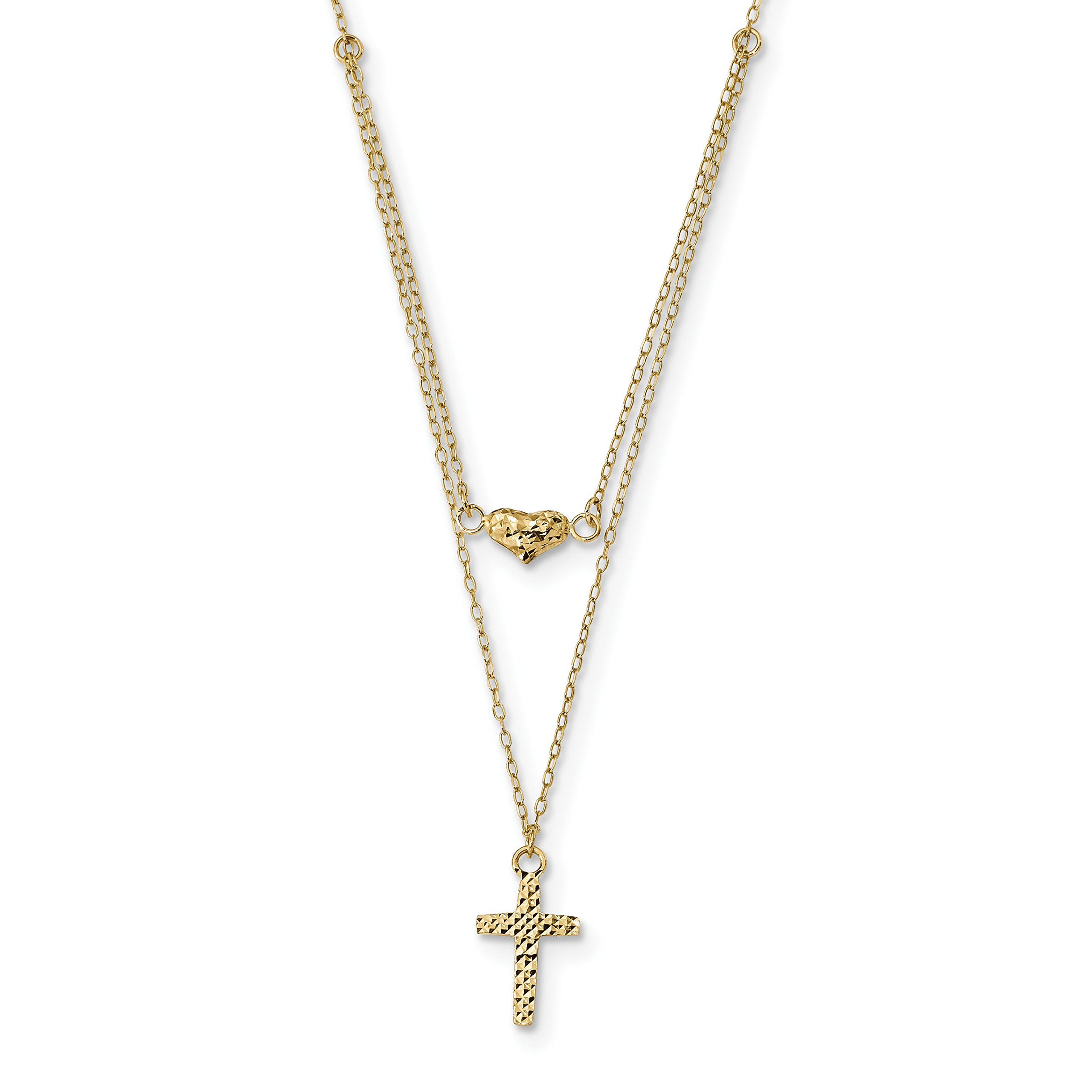 ICE CARATS 14k Yellow Gold 2 Strand Cross Religious Heart 2in. Extension Chain Necklace Fancy Fine Jewelry Gift For Women Heart