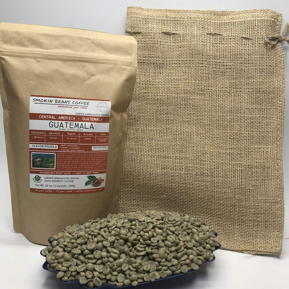 2 Pounds - Central American - Guatemala - Unroasted Arabica Green Coffee Beans - Grown in San Marcos Region - Altitude 1800M - Drying/Milling Process Washed - Finca Nueva Granada - Includes Burlap Bag by Smokin Beans