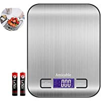 Amicable Digital Kitchen Food Scale for Cooking and Baking,5kg/11Lb Highly Accurate Kitchen Weight Scales with HD LCD…