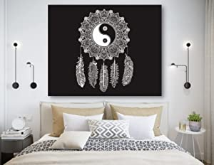 KaiSha Tapestry With Rod Pockets, Hippie Bohemian Tapestry Wall Hanging, Trippy Psychedelic Peacock Tapestries, Indian Mandala Black White Tapestry For Bedroom Dorm, Large Wall Décor 79x59 inches (Ying Yang Dream Catcher)