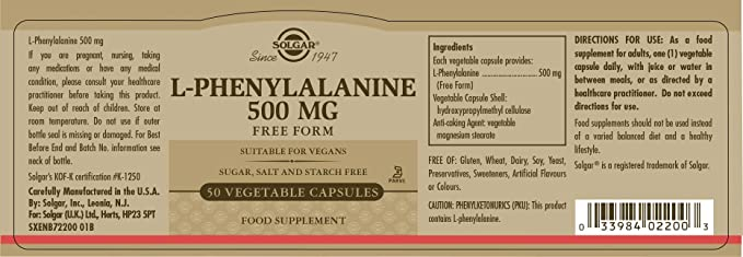 Solgar L-Fenilalanina Cápsulas vegetales de 500 mg - Envase de 50