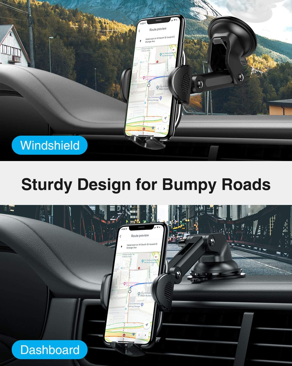 Light Gray Galaxy S20+ S20 Note 10 9 Plus Car Phone Holders UXD Car Phone Mount Compatible iPhone 11 Pro Max Xs XR X 8 Patented Phone Holders for Car Dashboard//Windshield//Air Vent