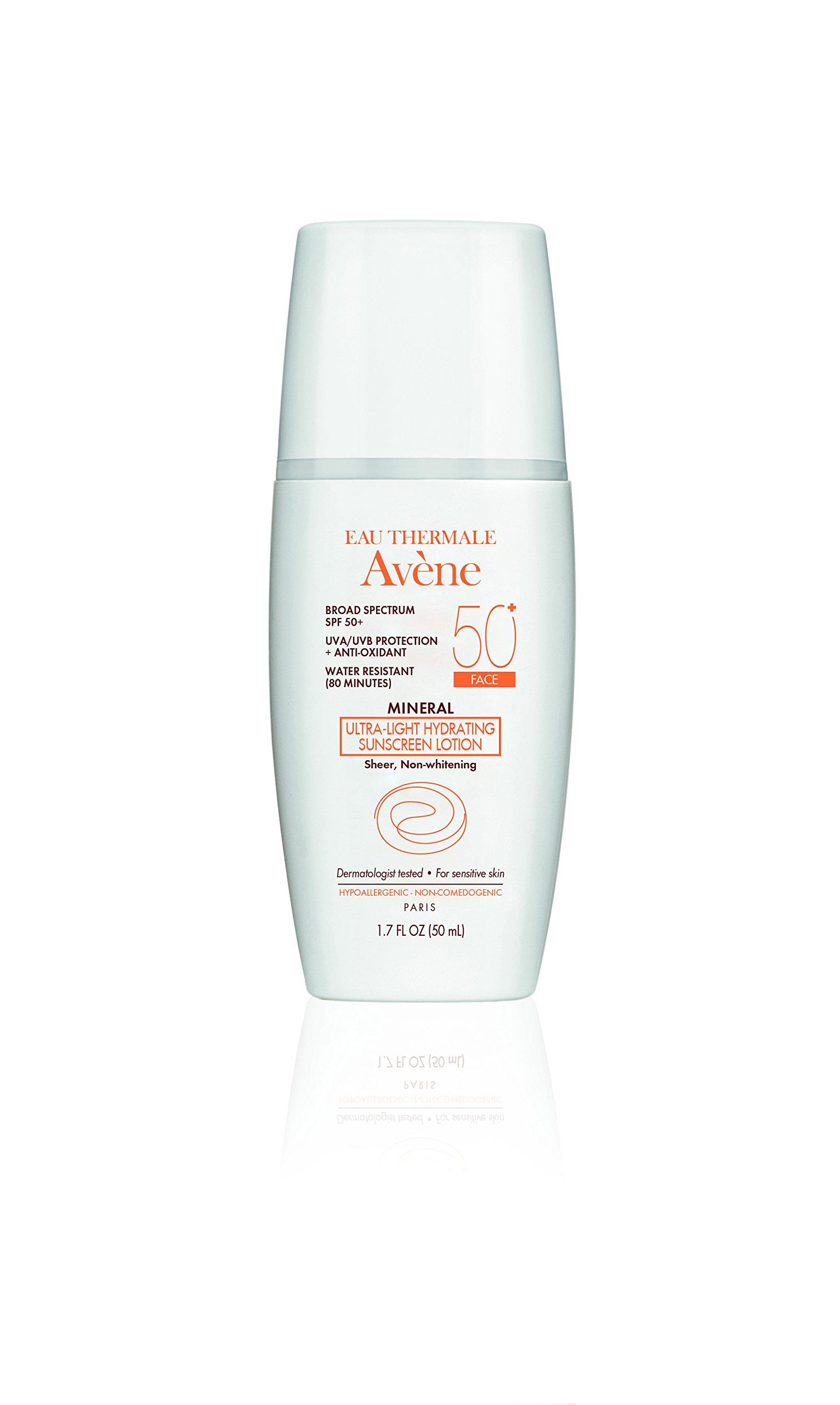 Avene Mineral Ultra-Light Hydrating Sunscreen SPF 50 Plus Face Lotion, 1.7 Fluid Ounce