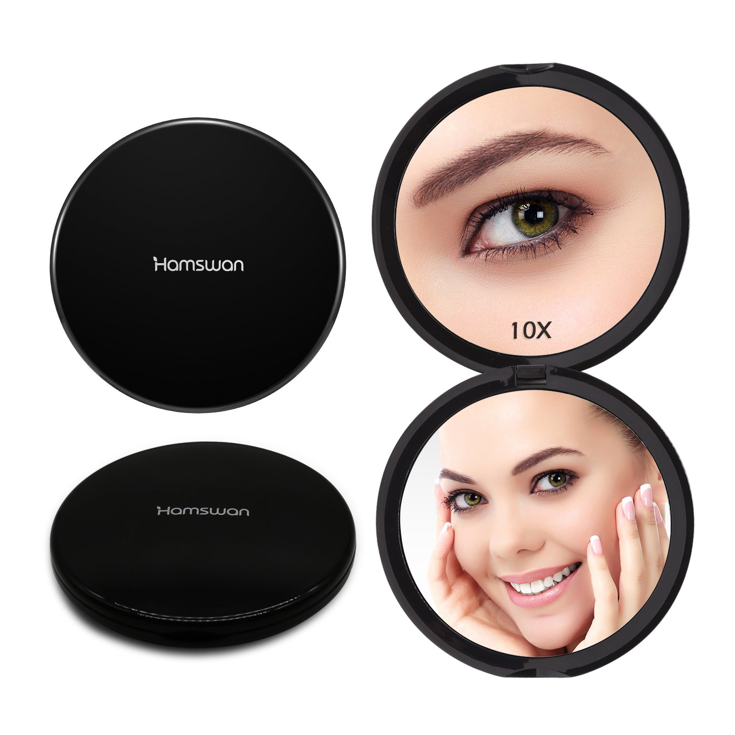 HAMSWAN Compact Makeup Mirror, 10X Magnifying Mirror, Small Round Mirror, Portable Pocket Mirror with 1X 10X Magnifying, Hand Held Cosmetic Mirror (Black) RM189-D