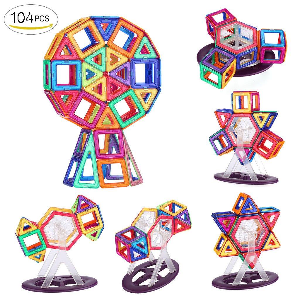 Shinehalo 60PCS Bloques de Construcción Magnéticos para Niños Creatividad Niño Juguetes Educativos Bloque de Construcción DIY Modelo Juguetes para Niños