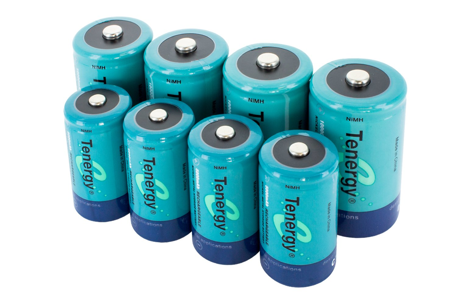 Tenergy High Capacity NiMH Rechargeable Battery Package: 4 C 5000 mAh + 4 D 10000 mAh