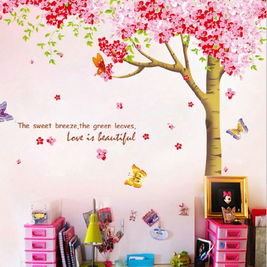 Rainbow fox large pink sakura flower cherry blossom tree wall colourxy1096 environmental dhlflorist Images
