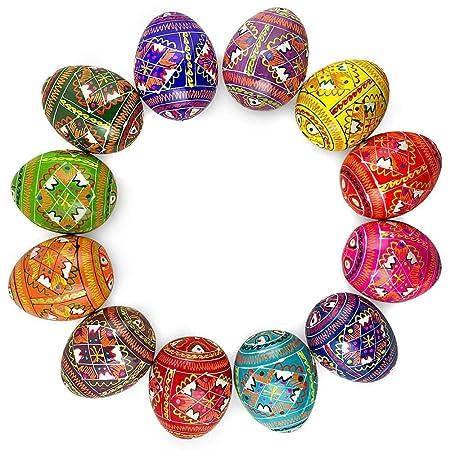 12 Ukrainian Geometric Design Wooden Pysanky Ukrainian Easter Eggs 2.5 Inches