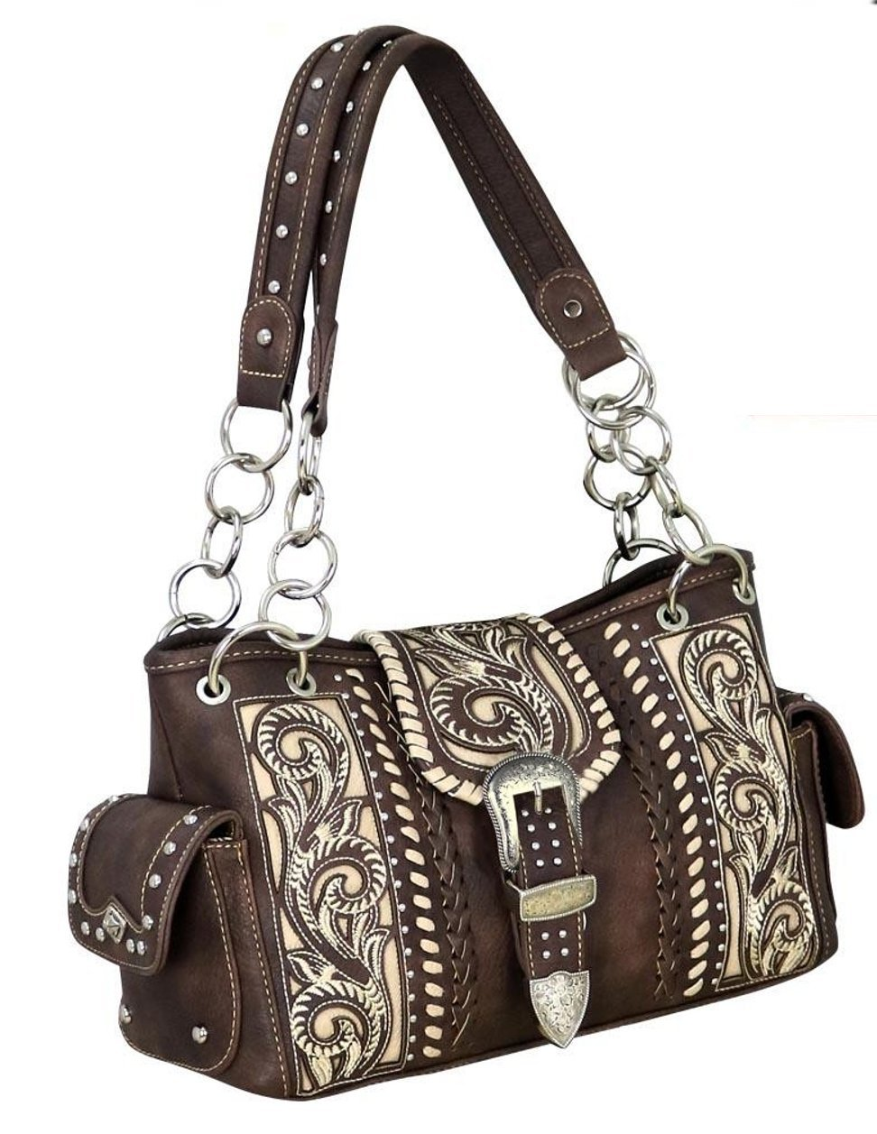 Montana West Buckle Collection Concealed Carry Boot Scroll Satchel