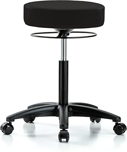 Perch Stella Rolling Height Adjustable Salon Spa Stool for Hardwood or Tile Workbench Height 21-28.5 Inches 300-Pound Weight Capacity 12 Year Warranty Black Vinyl