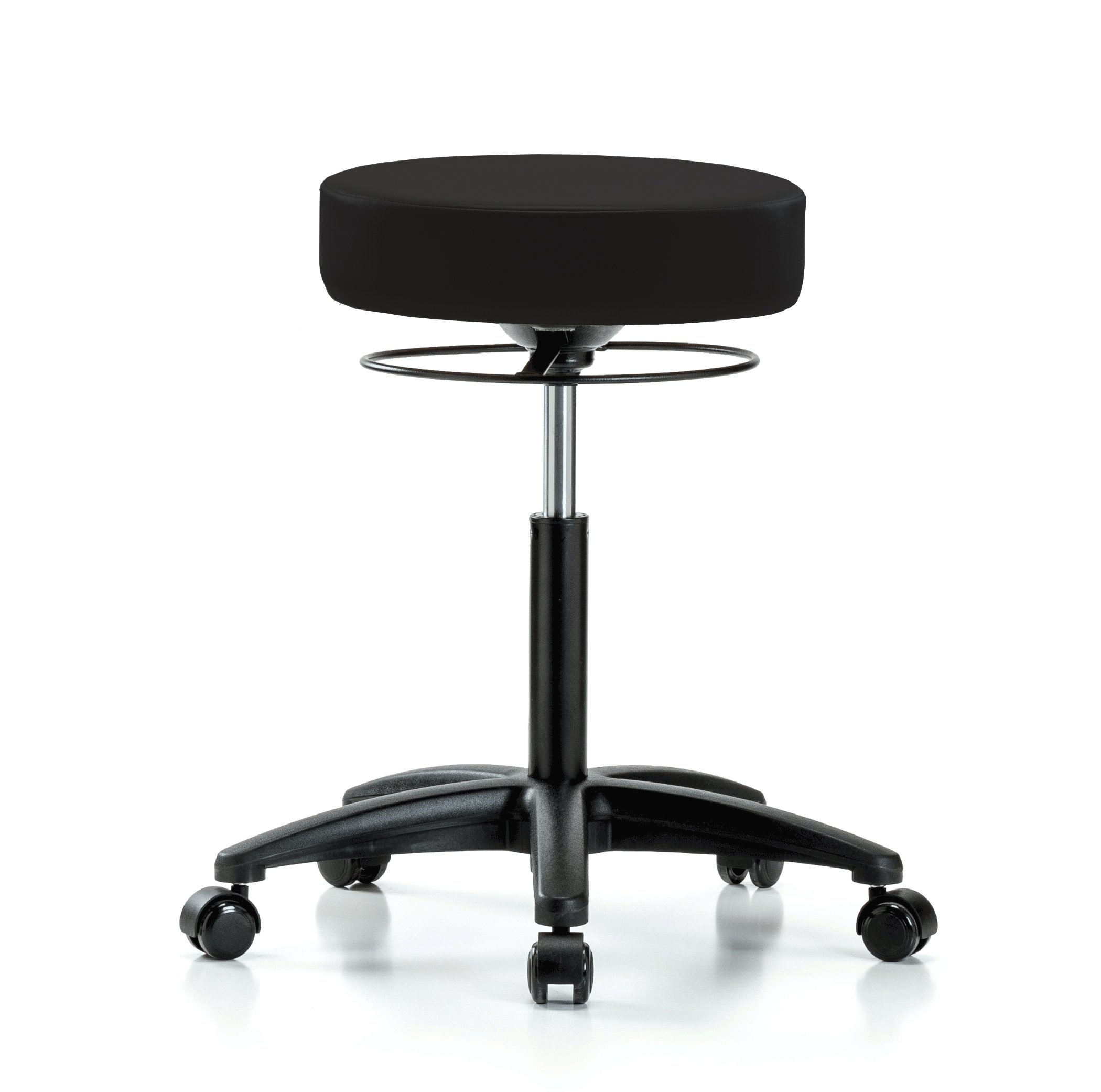 Perch Stella Rolling Adjustable Stool Medical Salon Spa Massage Tattoo Office 21'' - 28.5'' (Hard Floor Casters/Black Vinyl)