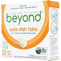 Beyond Natural Dishwasher Tablets - Fragrance & Dye Free - ZERO PLASTIC WASTE - Certified Biobased (1 Box of 32)