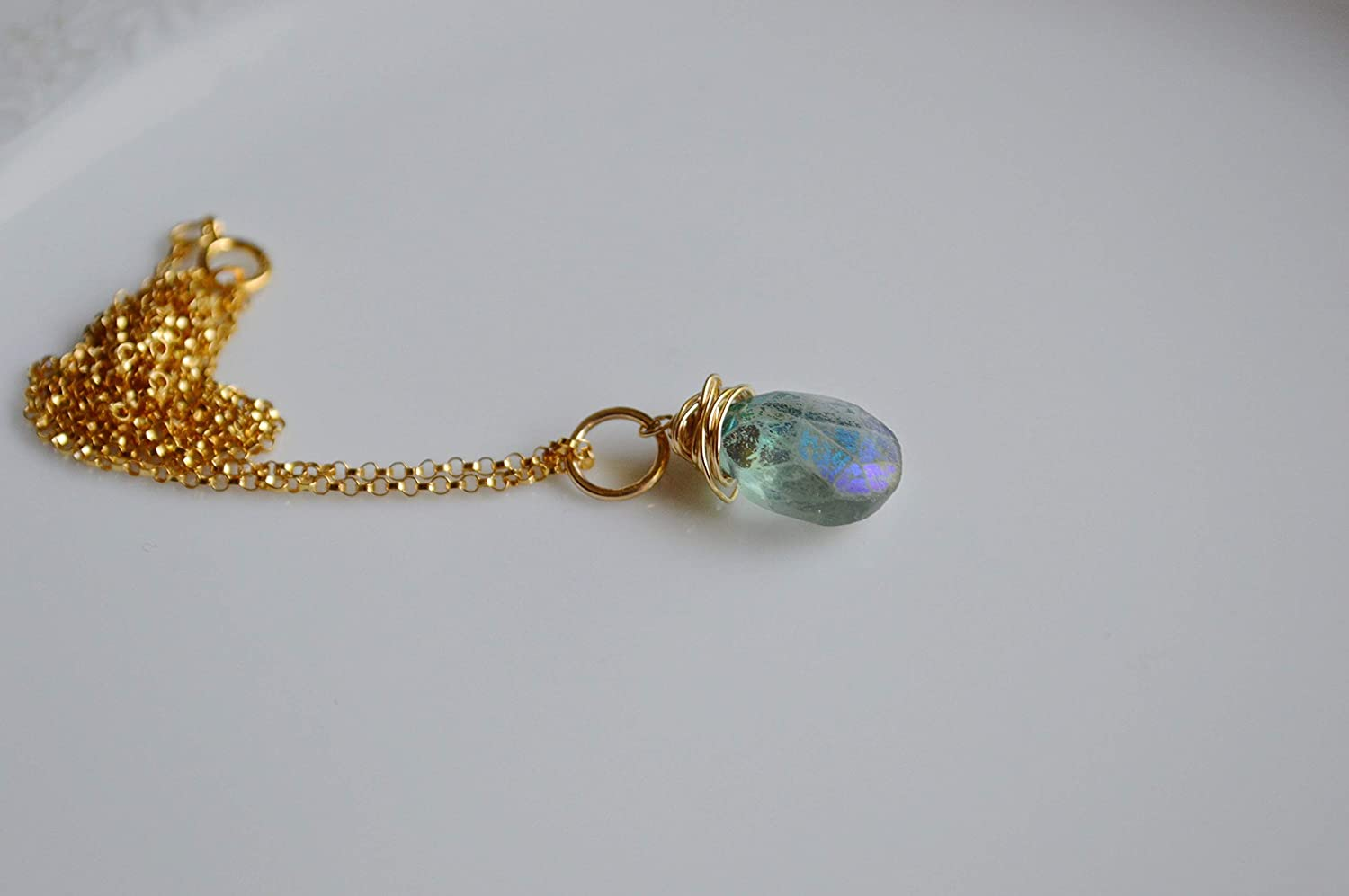 Carved Yellow Fluorite Wire Wrapped Pendant Necklace